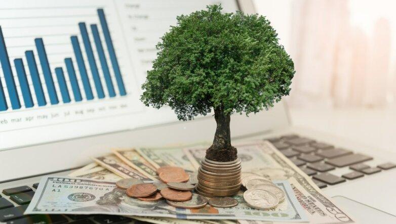 Инвестиции, финансы, валюта, деньги, доллар, $, график, ноутбук, рост