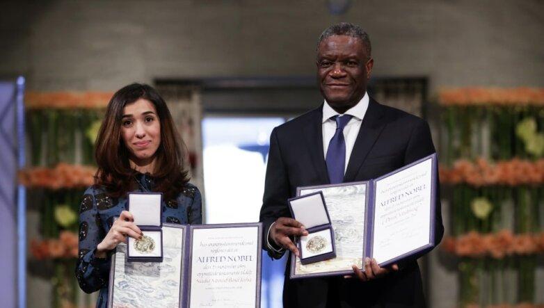 Лауреаты Нобелевской премии мира за 2018 год Надя Мурад и Денис Муквеге