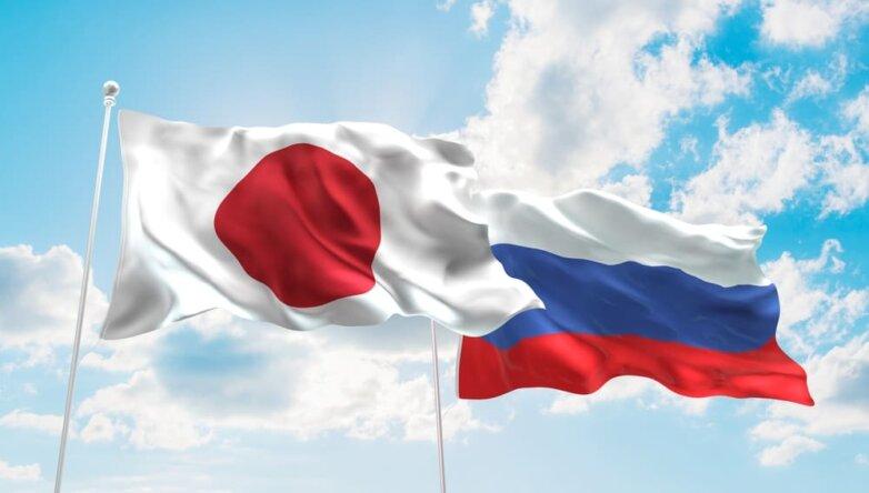Россия, Япония, флаги
