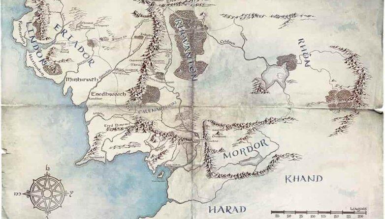 Карта Средиземья из сериала «Властелин колец»