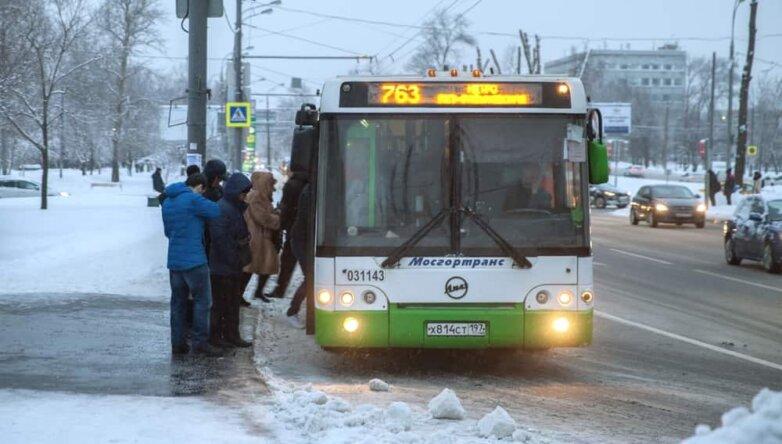 Автобус, общественный транспорт, зима, снег
