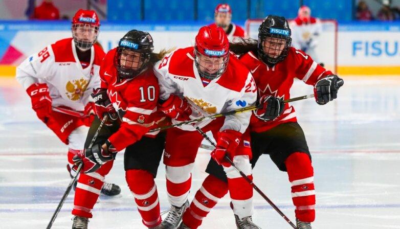 Финальный матч по хоккею среди женщин на зимней Универсиаде-2019: Россия - Канада - 2:0