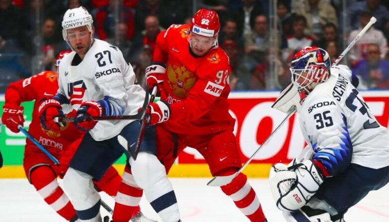 Матч 1/4 финала чемпионата мира по хоккею - 2019: Россия - США