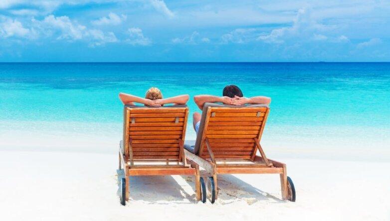 Пляж отпуск отдых туризм путешествие океан море синие