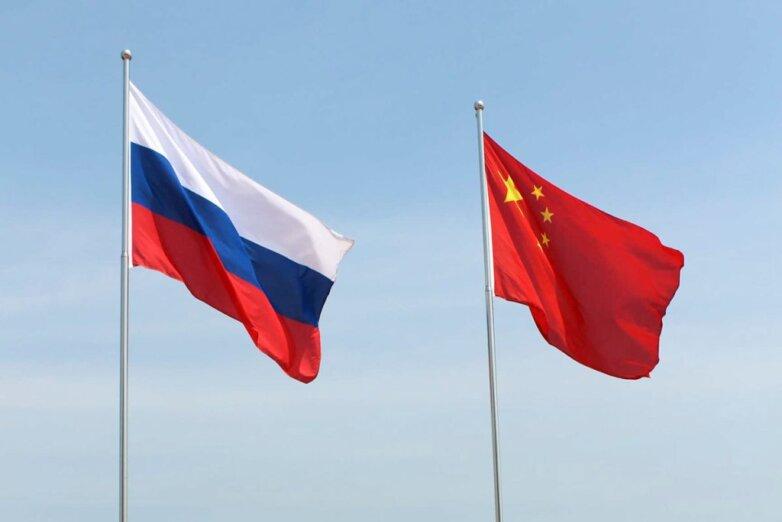 Россия, Китай, флаги, сотрудничество