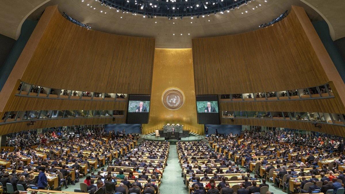 Зал заседаний Генеральная Ассамблея ООН в Нью-Йорке Организация Объединенных Наций