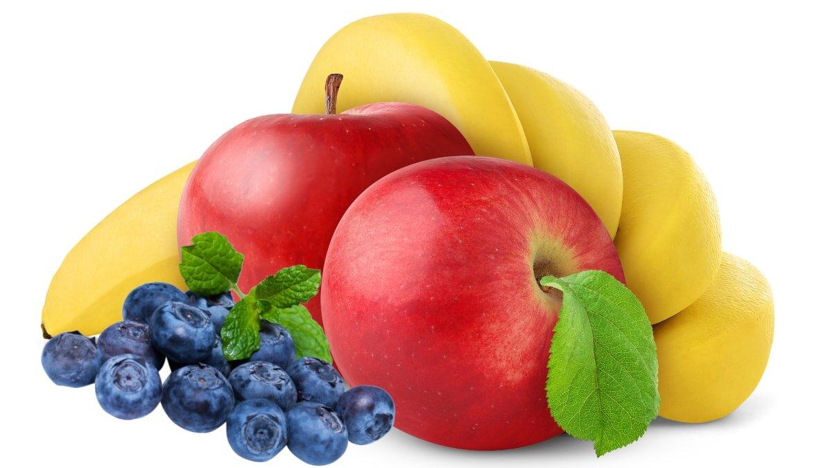 яблоки черника банан фрукты ягоды