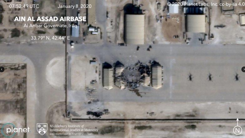 повреждения на базе США после ракетного удара Ирана