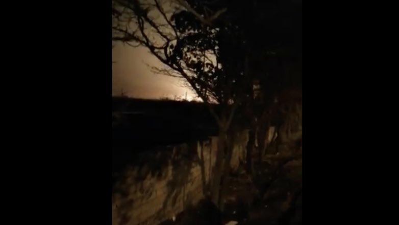 скриншот видео крушения самолета в Тегеране