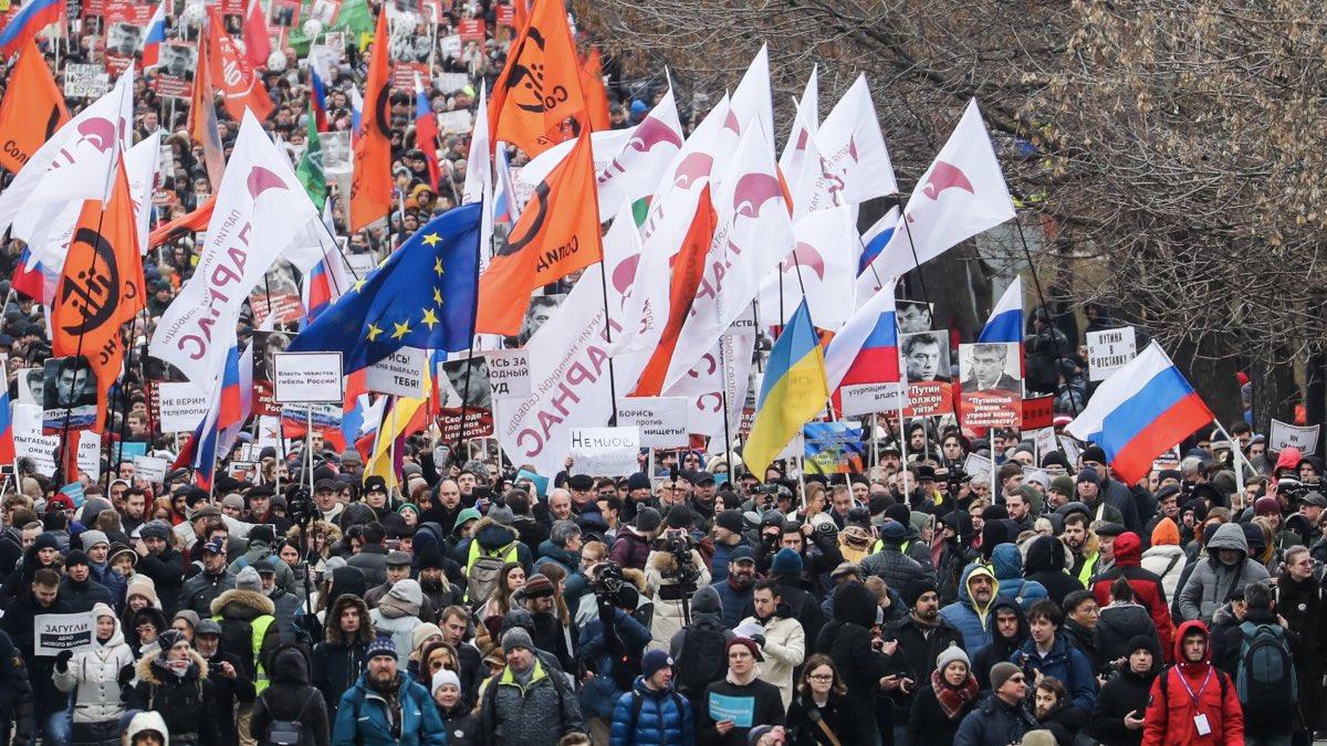 Марш памяти Бориса Немцова в Москве 29.02.2020