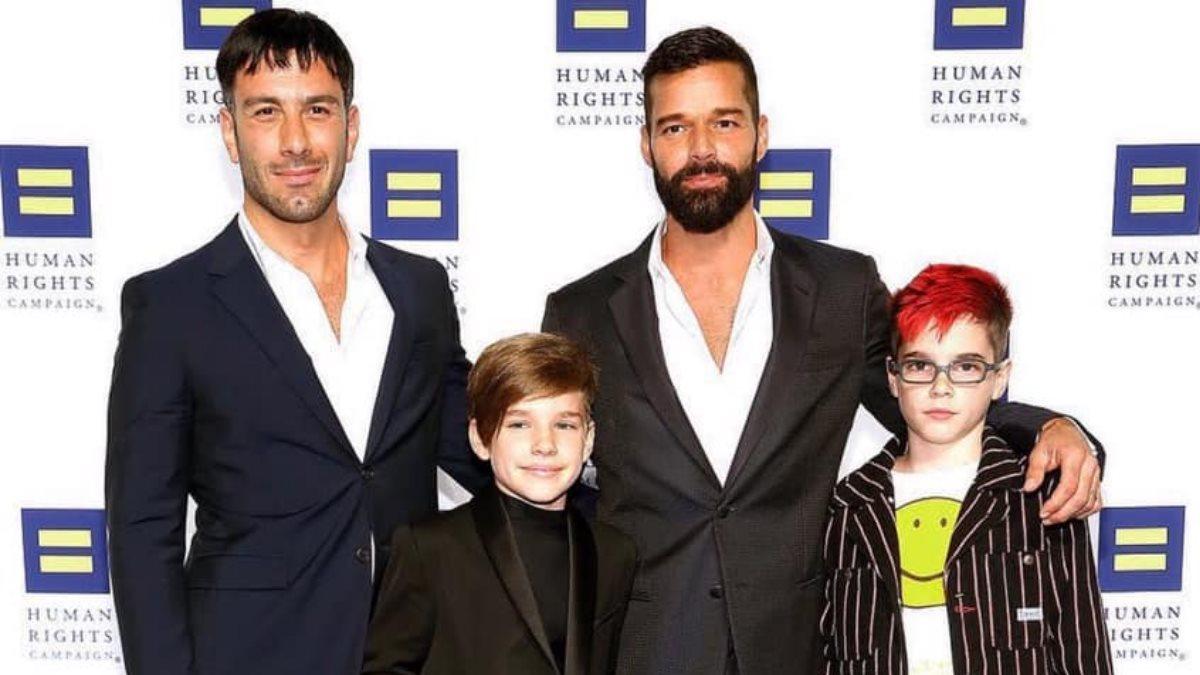 Джван Йосеф и Рики Мартин с детьми Валентино и Маттео
