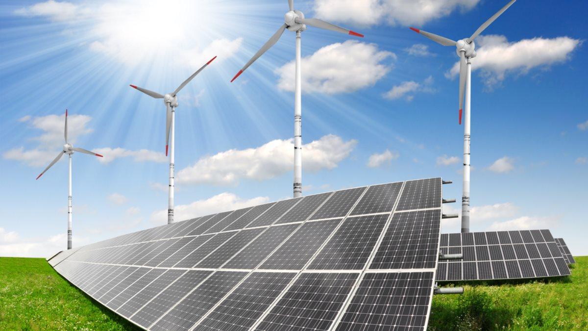 Альтернативная энергия ветрогенератор ветряк солнечные панели батареи зелёная энергетика