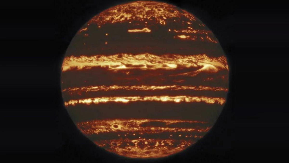 Изображение Юпитера в инфракрасном свете