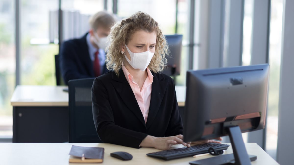Офисные работники офисный работник коронавирус маска