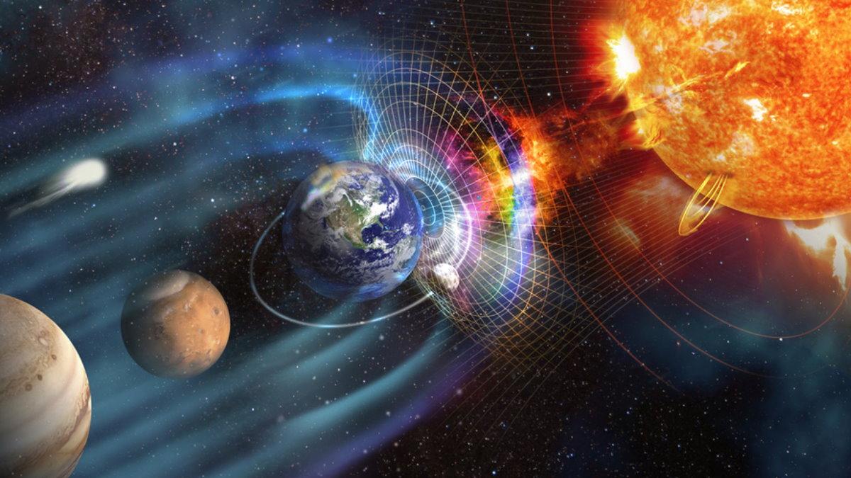 Магнитная буря Земля волны вспышки на солнце