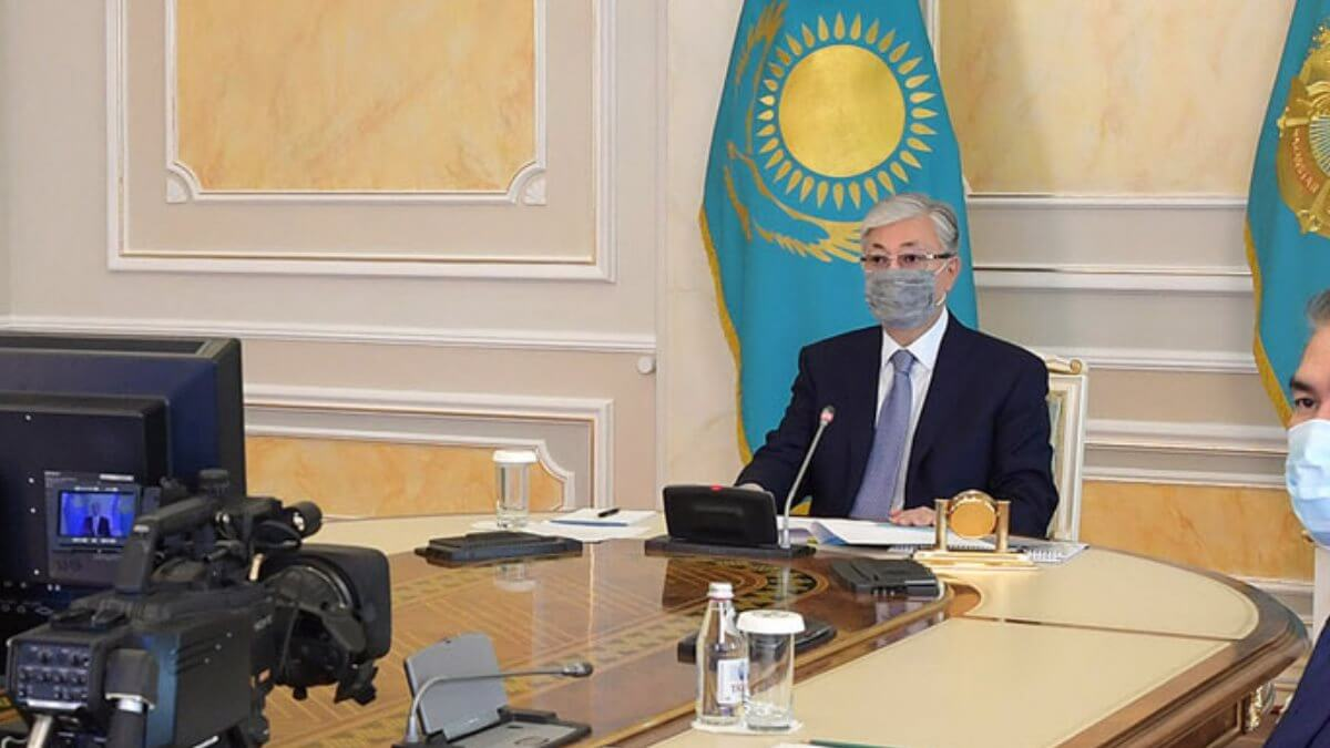 Президент Казахстана Касым-Жомарт Токаев видеоконференция