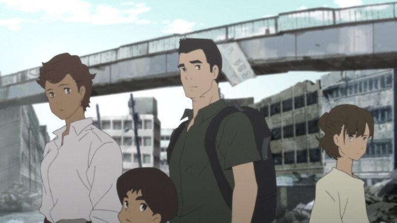 Кадр из аниме-сериала Затопление Японии 2020