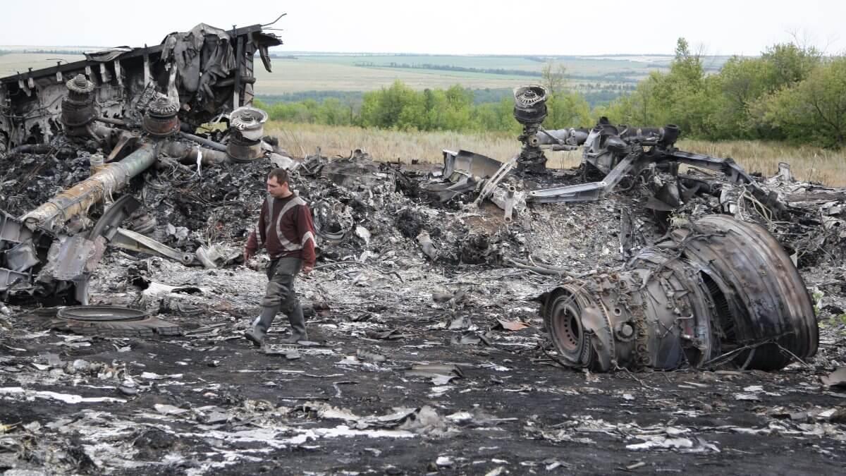 Место крушения малайзийского Boeing 777 рейса MH17 17 июля 2014 года Донецкая область