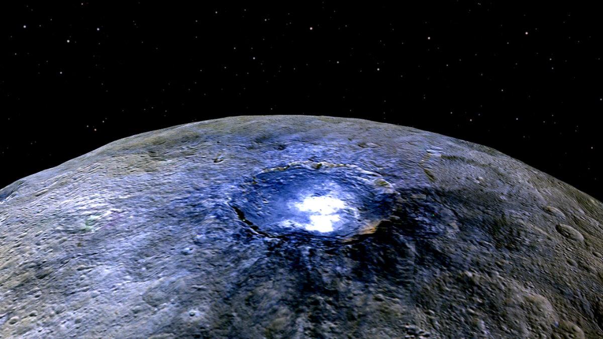 Кратер Оккатор на поверхности Цереры Планета Церера