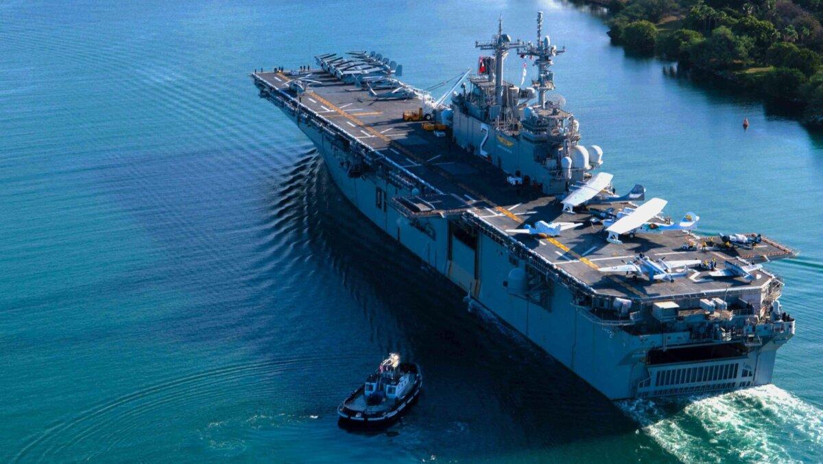 USS Essex (LHD-2) прибывает в Перл-Харбор, Гавайи, на выставку RIMPAC 2020
