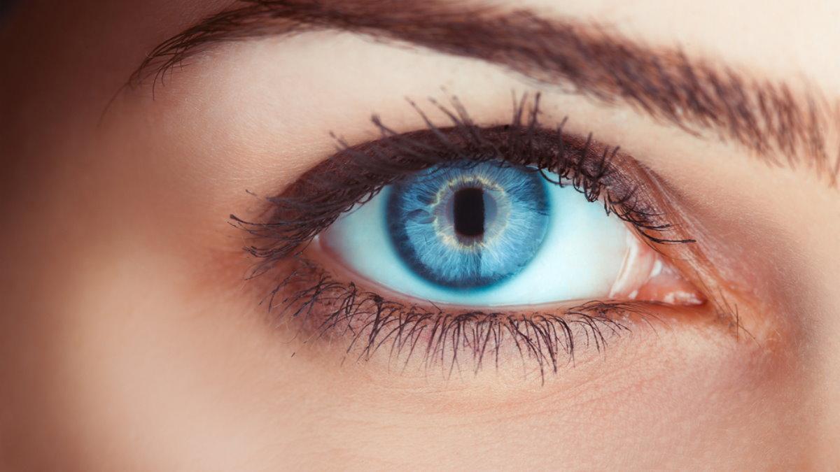 Голубые глаза голубой девушка зрение