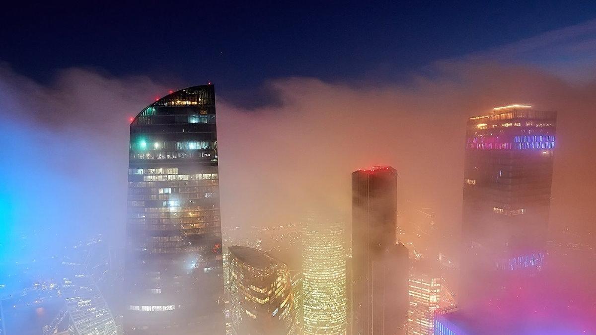 Погода туман Москва-сити один