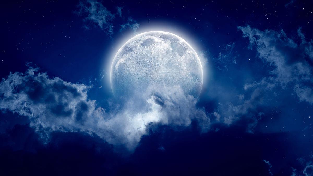 луна облака полнолуние небо ночь