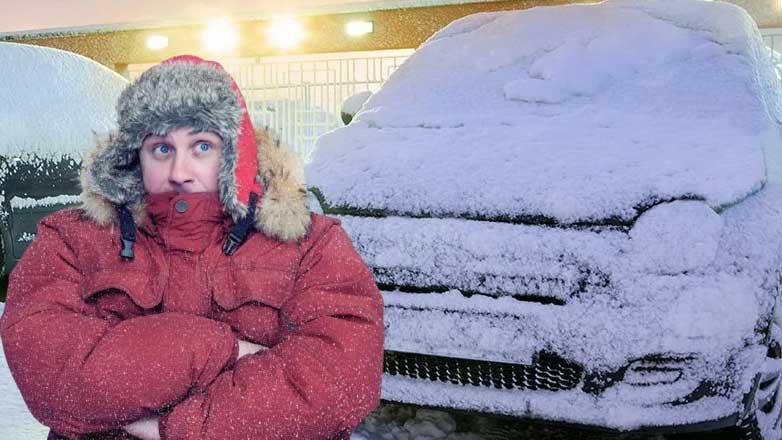машина замерзла зима