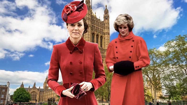принцесса Диана и Кейт Миддлтон в красном