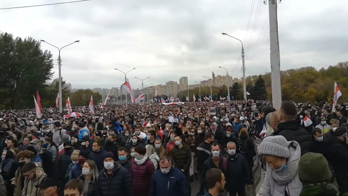 Беларусь Белоруссия Минск протесты протестующие марш один