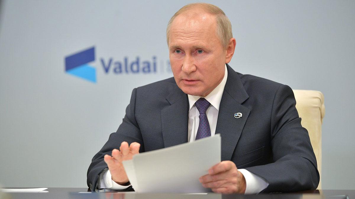 Владимир Путин в режиме видеоконференции принимает участие в итоговой пленарной сессии XVII ежегодного заседания Международного дискуссионного клуба «Валдай».