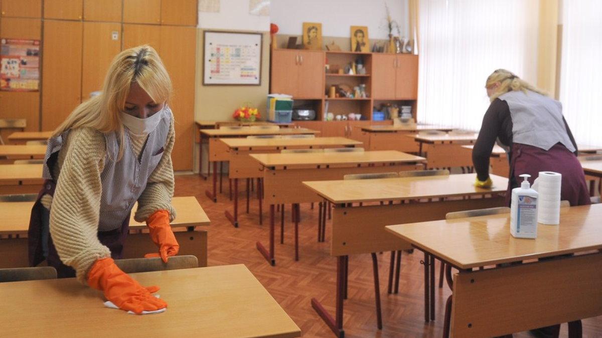 Россия школа коронавирус дезинфекция три