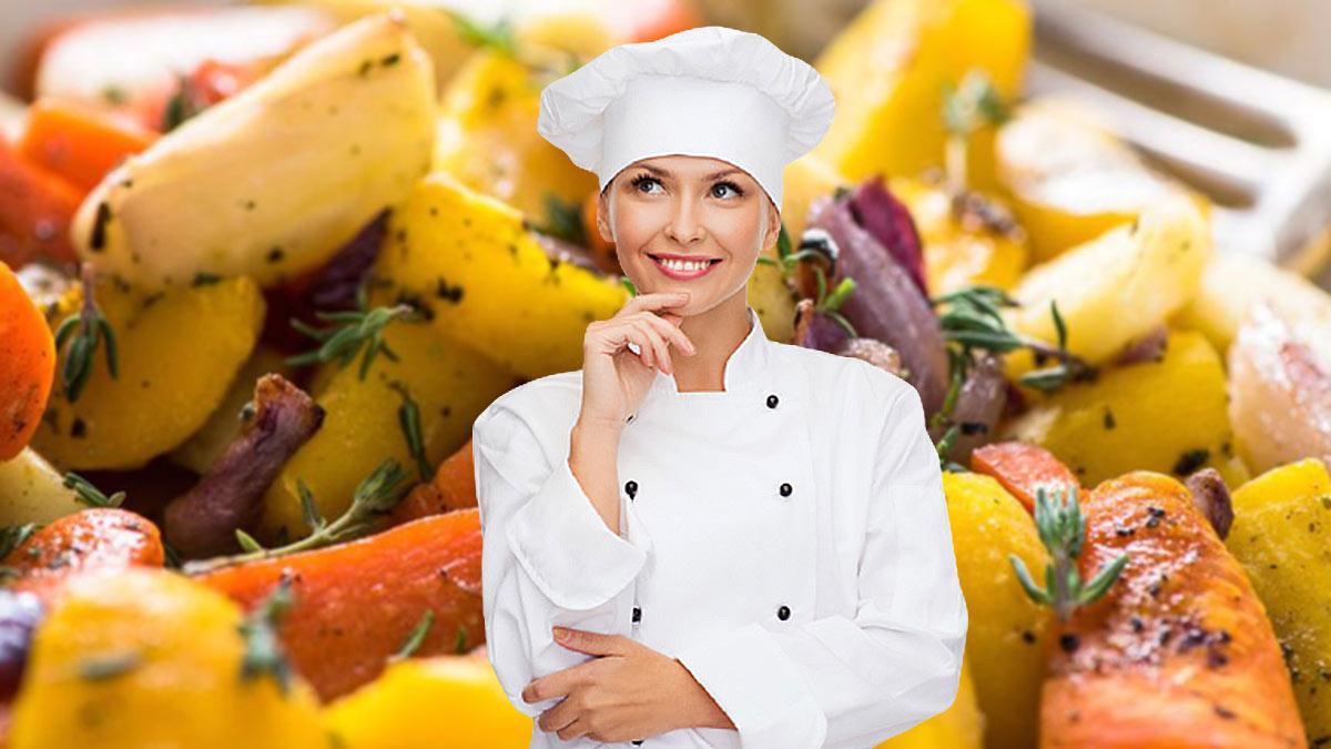 печеные корнеплоды девушка повар