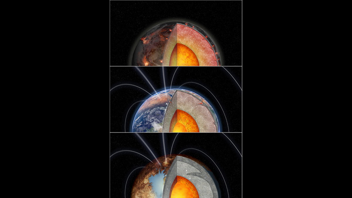 Три планеты с разной степенью внутреннего нагрева от радиоактивных элементов