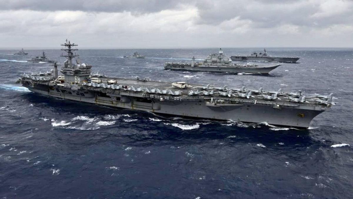 авианосец авианосная боевая группа учения MALABAR 2020 США Индия