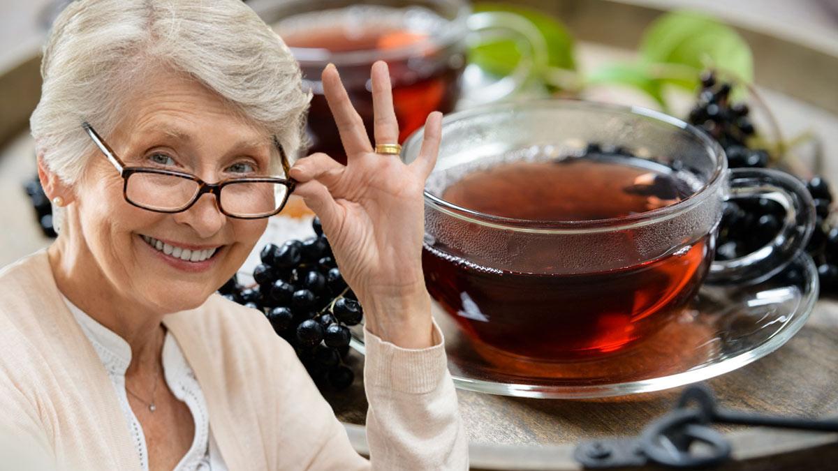 долголетие здоровье пожилая женщина чай из бузины