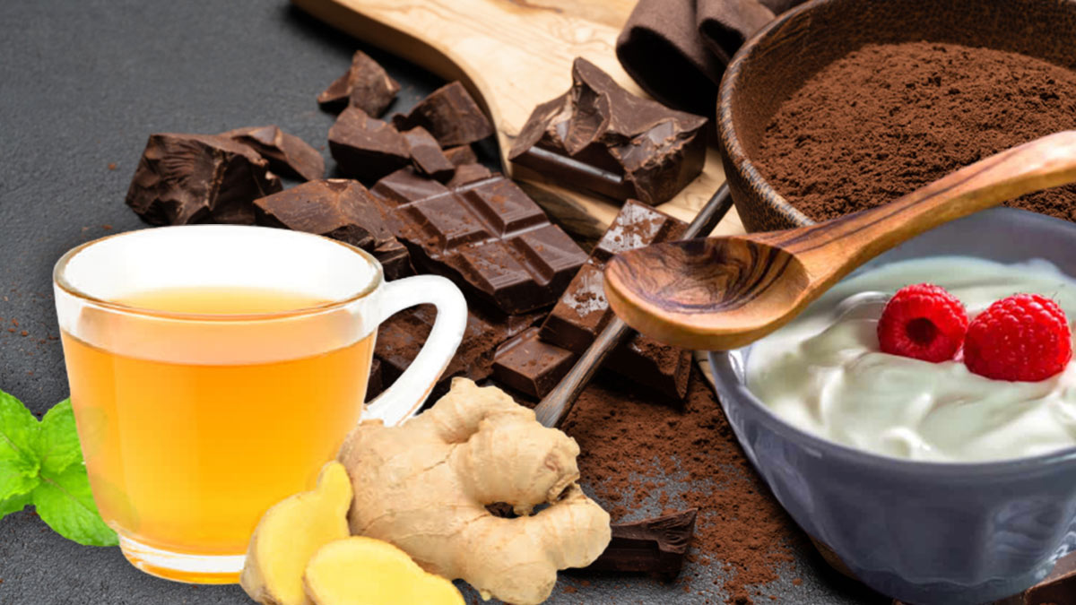 имбирный чай йогурт темный шоколад