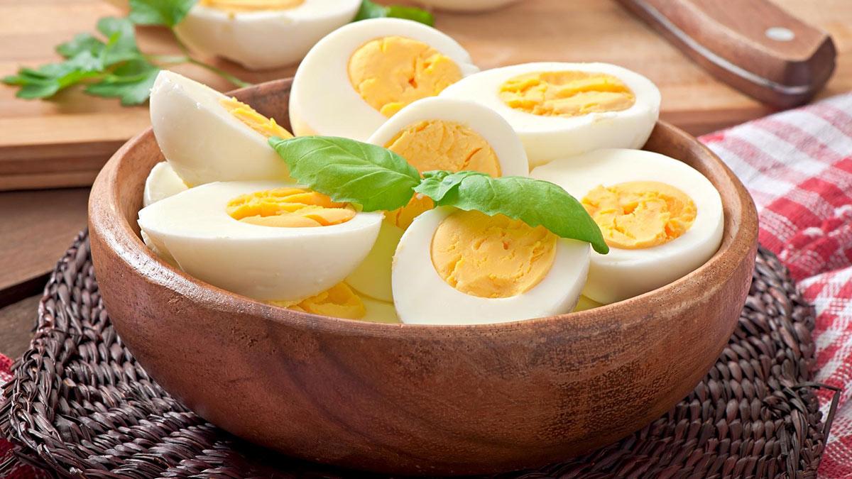 куриные яйца в миске еда