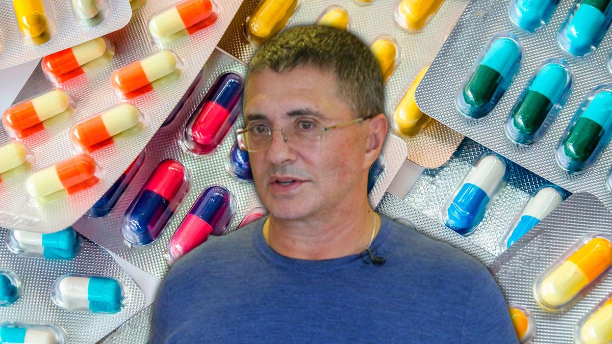 доктор Александр Мясников на фоне лекарств