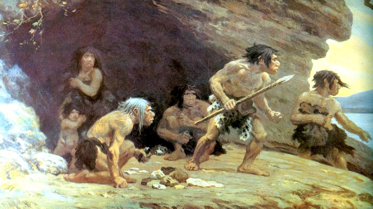 неандертальцы древние люди копье племя
