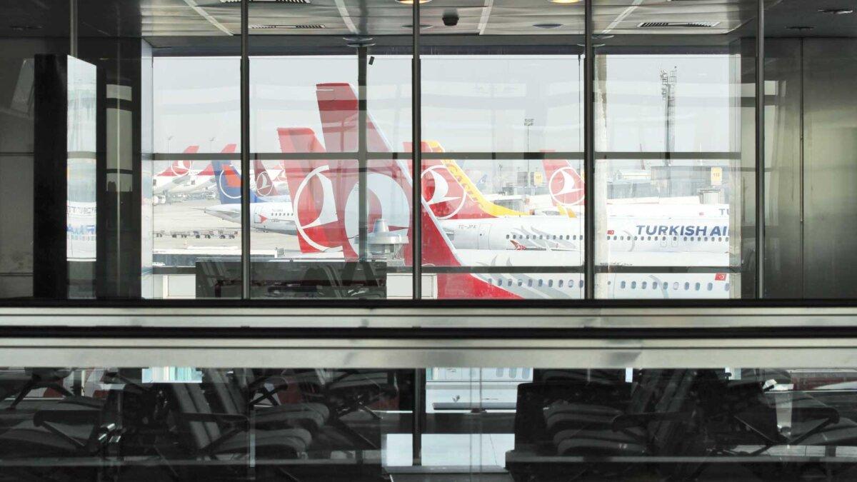 Аэропорт Турция самолеты View of Turkish airlines airplanes from the terminal on Ataturk airport