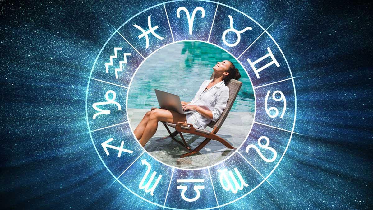 Девушка море ноутбук знаки зодиака