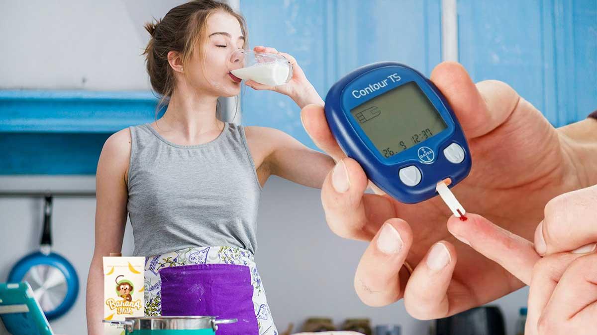 Девушка пьет молоко тест диабет