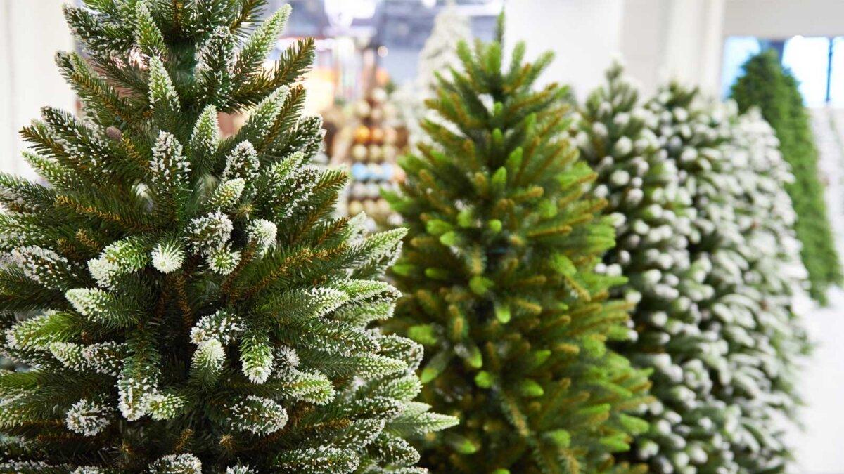 Искуственные елки в магазине Decorative artificial christmas trees in the store