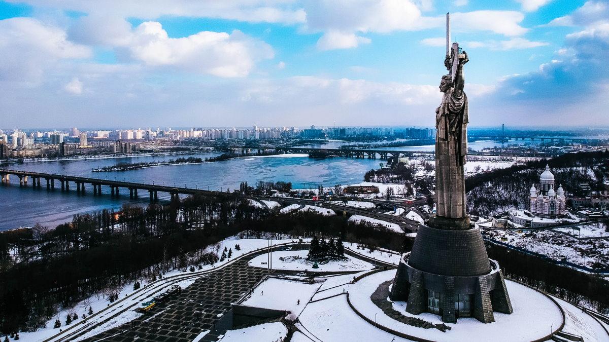 Киев Украина зима скульптура Родина-мать