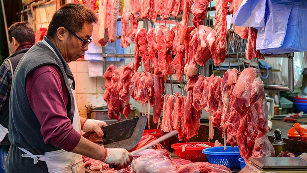Мясной рынок в Азии meat market in Asia