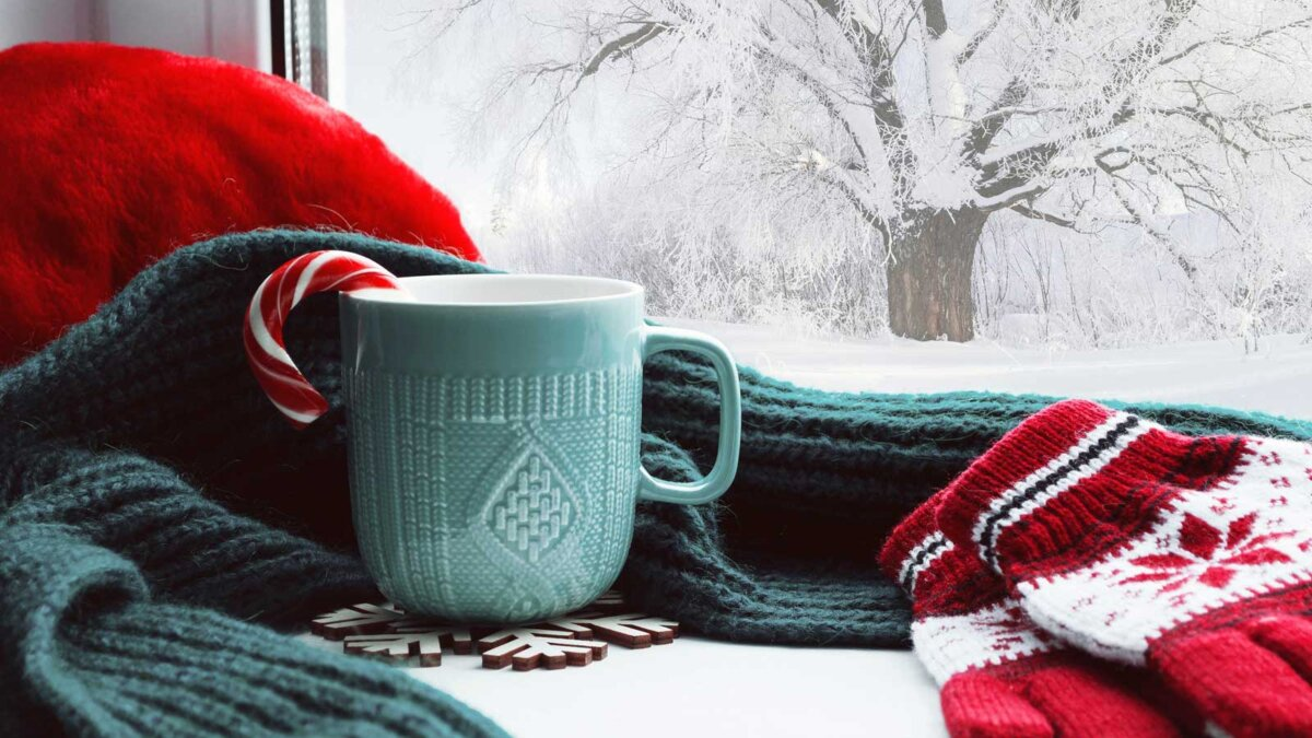 Погода зима январь чашка варежки