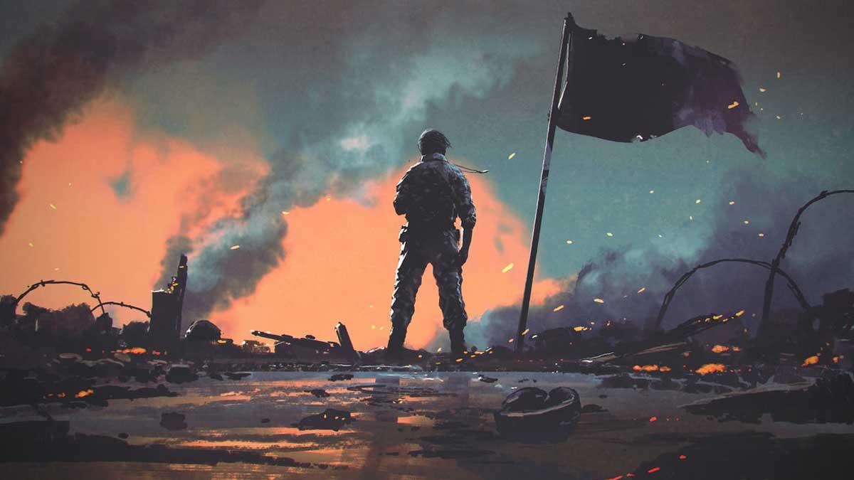 Солдат, стоящий один после войны на поле боя