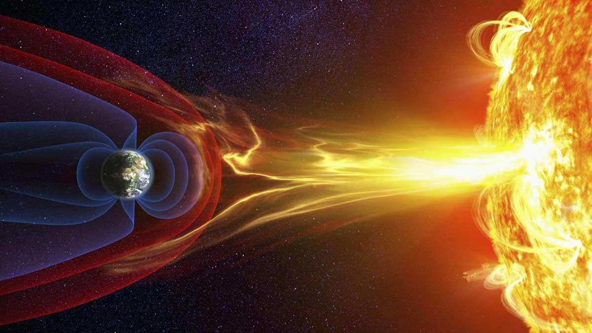 Солнце вспышка магнитного поле и радиация