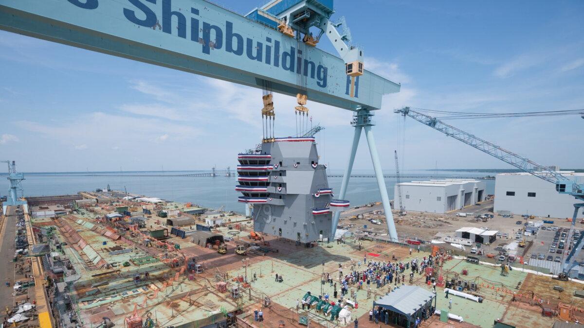 Строительство авианосца USS John F Kennedy CVN-79 судостроительный завод Huntington Ingalls Industries